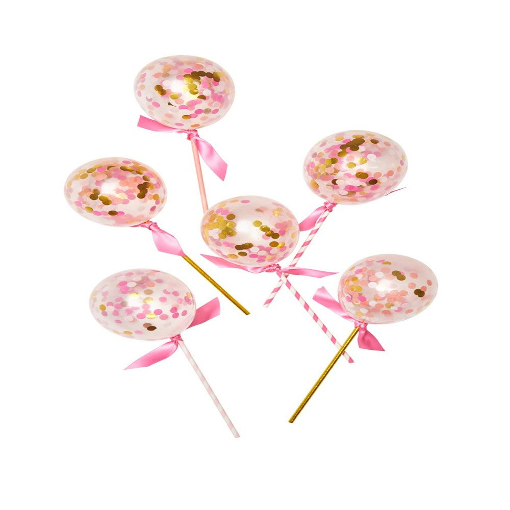PINK SHIMMER BALLOON POPS<BR>(6 pack)