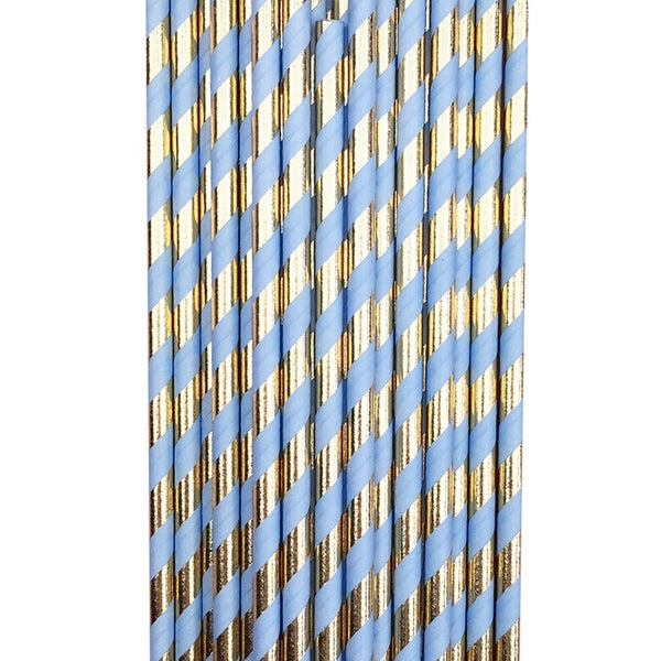 BLUE GOLD FOIL <BR> STRAWS (25 pack)