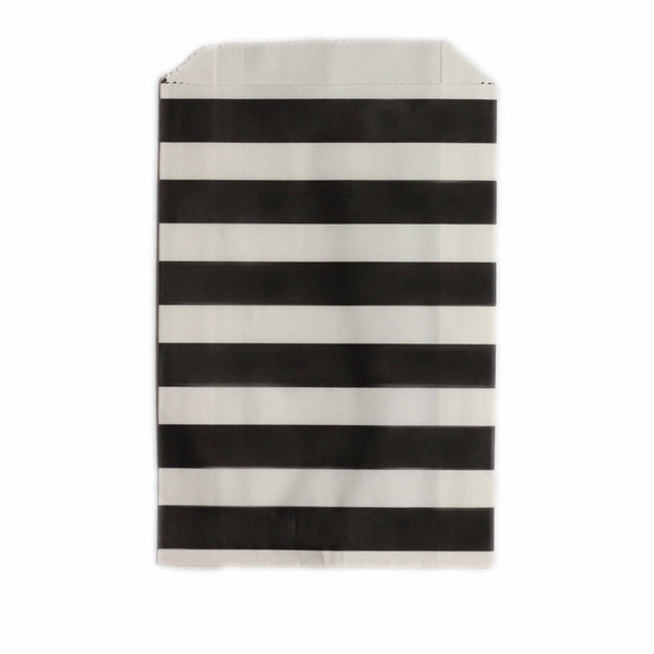 BLACK STRIPE <BR>LOLLY BAGS (12 pack)