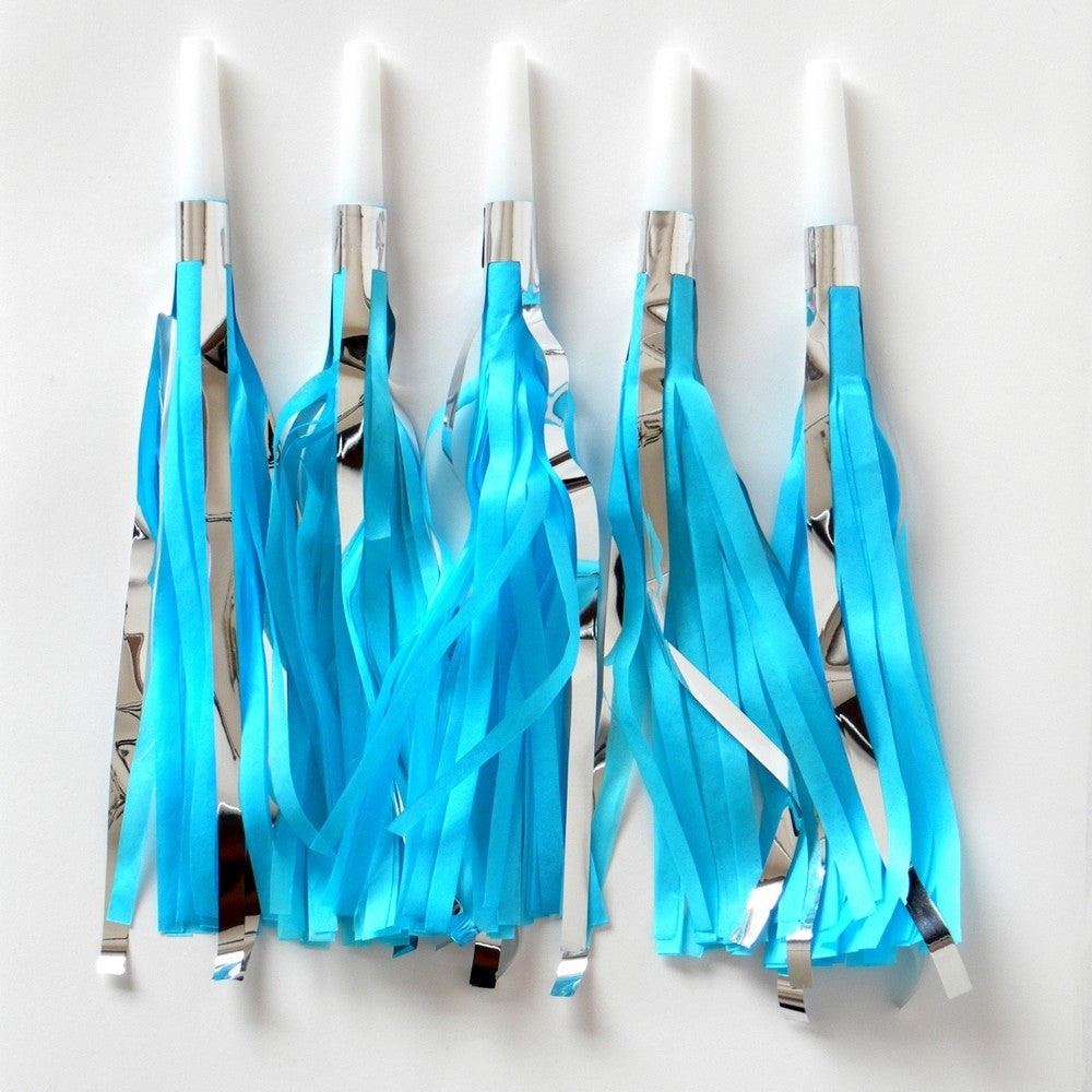 BLUE & SILVER TASSEL <BR> PARTY HORN (10 pack)