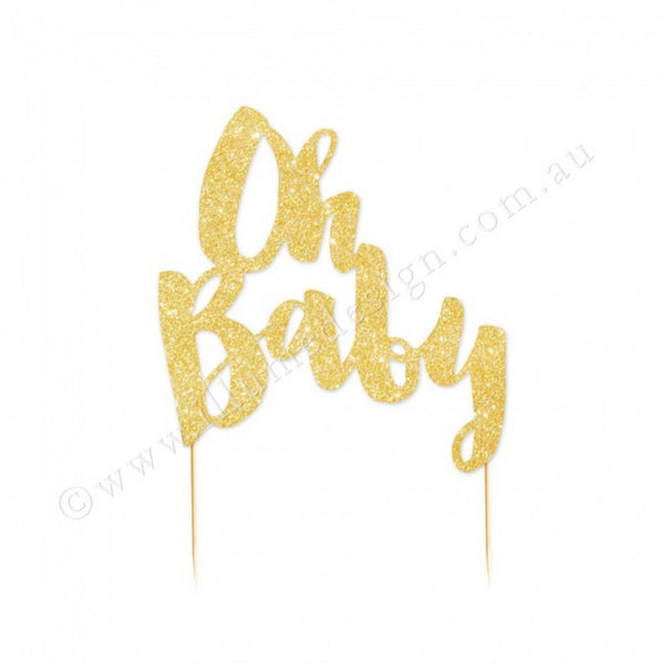 'OH BABY' GOLD GLITTER CAKE TOPPER