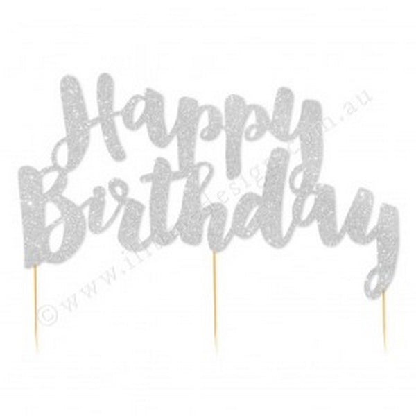 """HAPPY BIRTHDAY"" SILVER GLITTER CAKE TOPPER"
