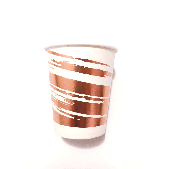 ROSE GOLD BRUSH STROKE <br> CUPS (8 pack)