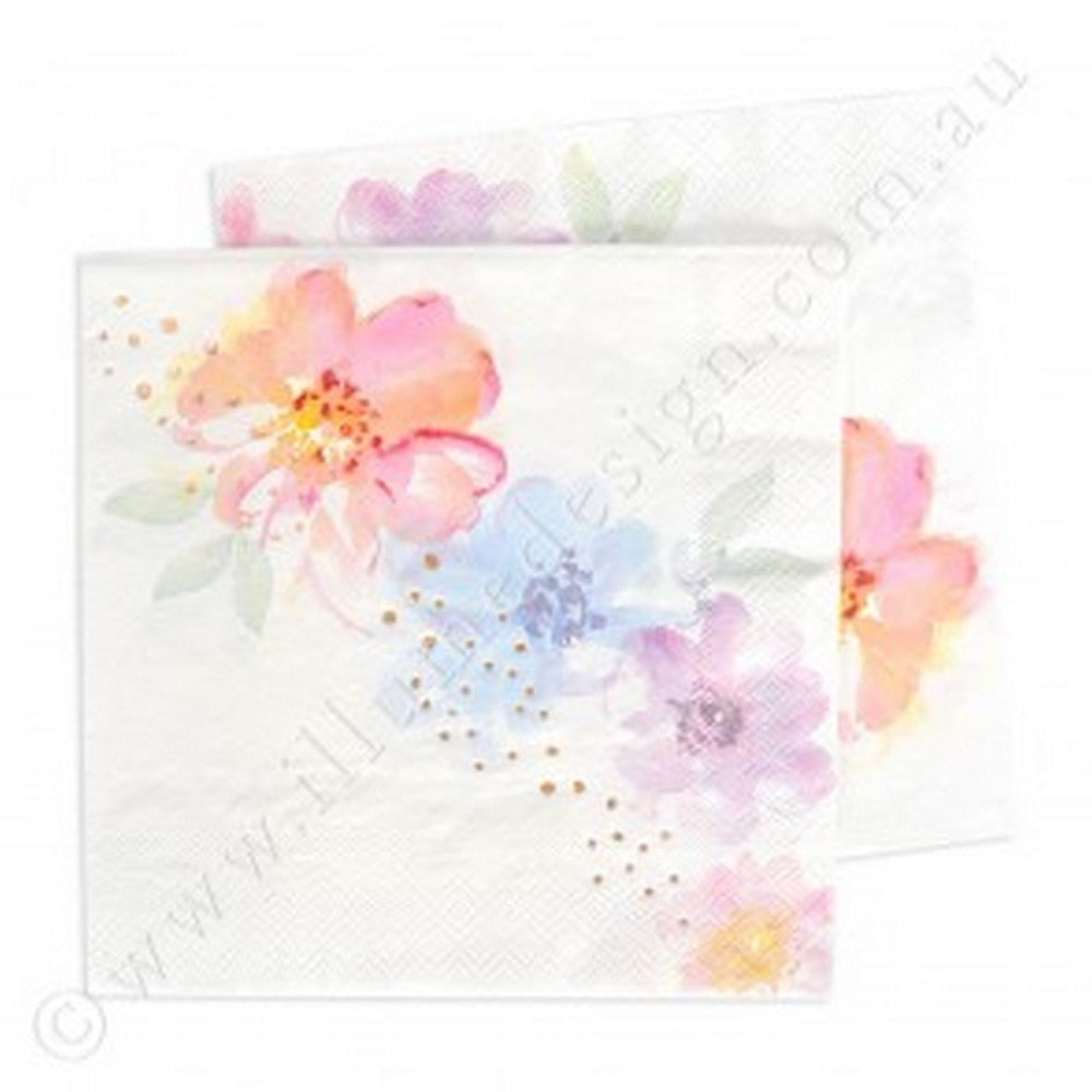 ROSE GOLD FLORAL<BR>LARGE NAPKINS (20 pack)