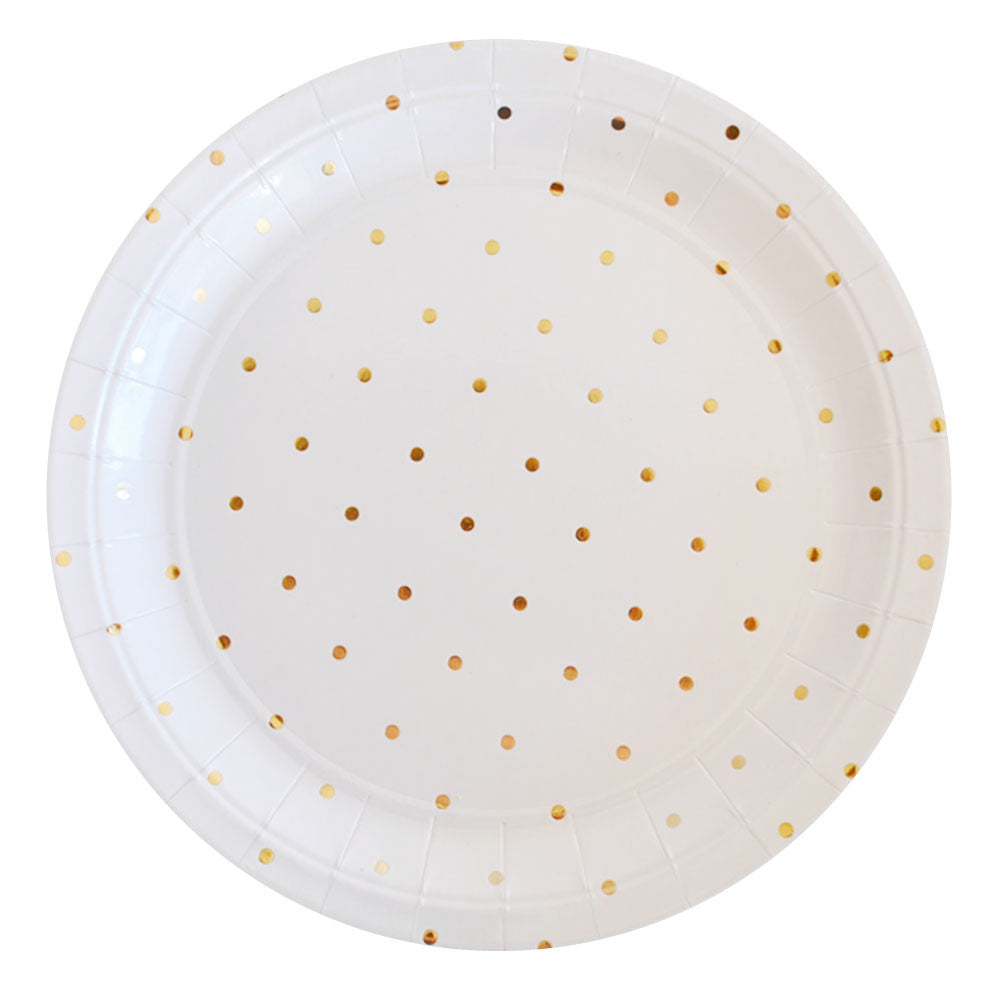 GOLD DOTS<BR>LARGE PLATES (10 pack)