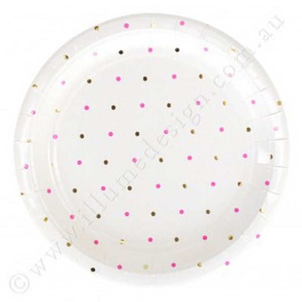 GOLD & PINK DOTS<BR>LARGE PLATES (10 pack)