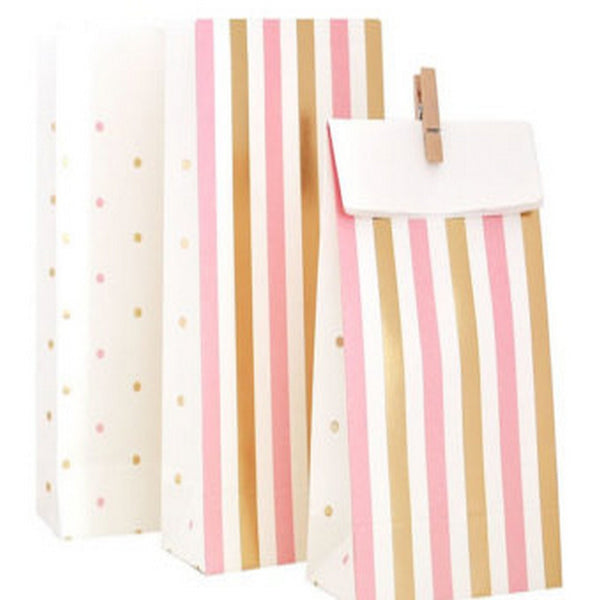 GOLD & PINK <BR>TREAT BAGS (10 pack)