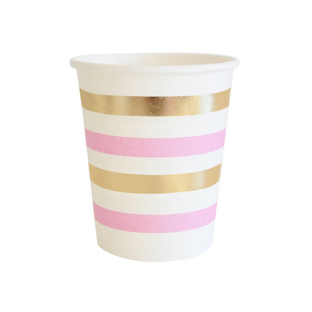 GOLD & PINK STRIPE<BR>CUPS (10 pack)