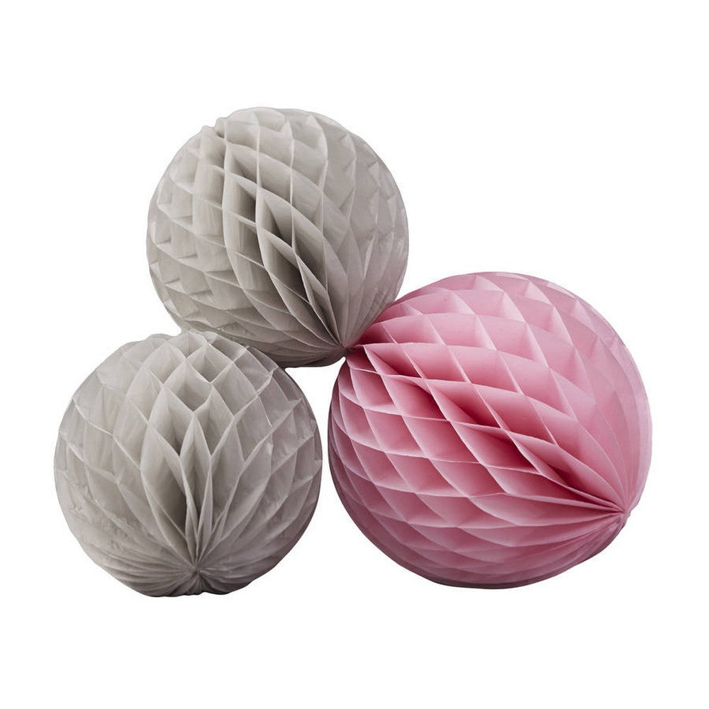 PINK & GREY <BR>HONEYCOMB BALLS (3 pack)