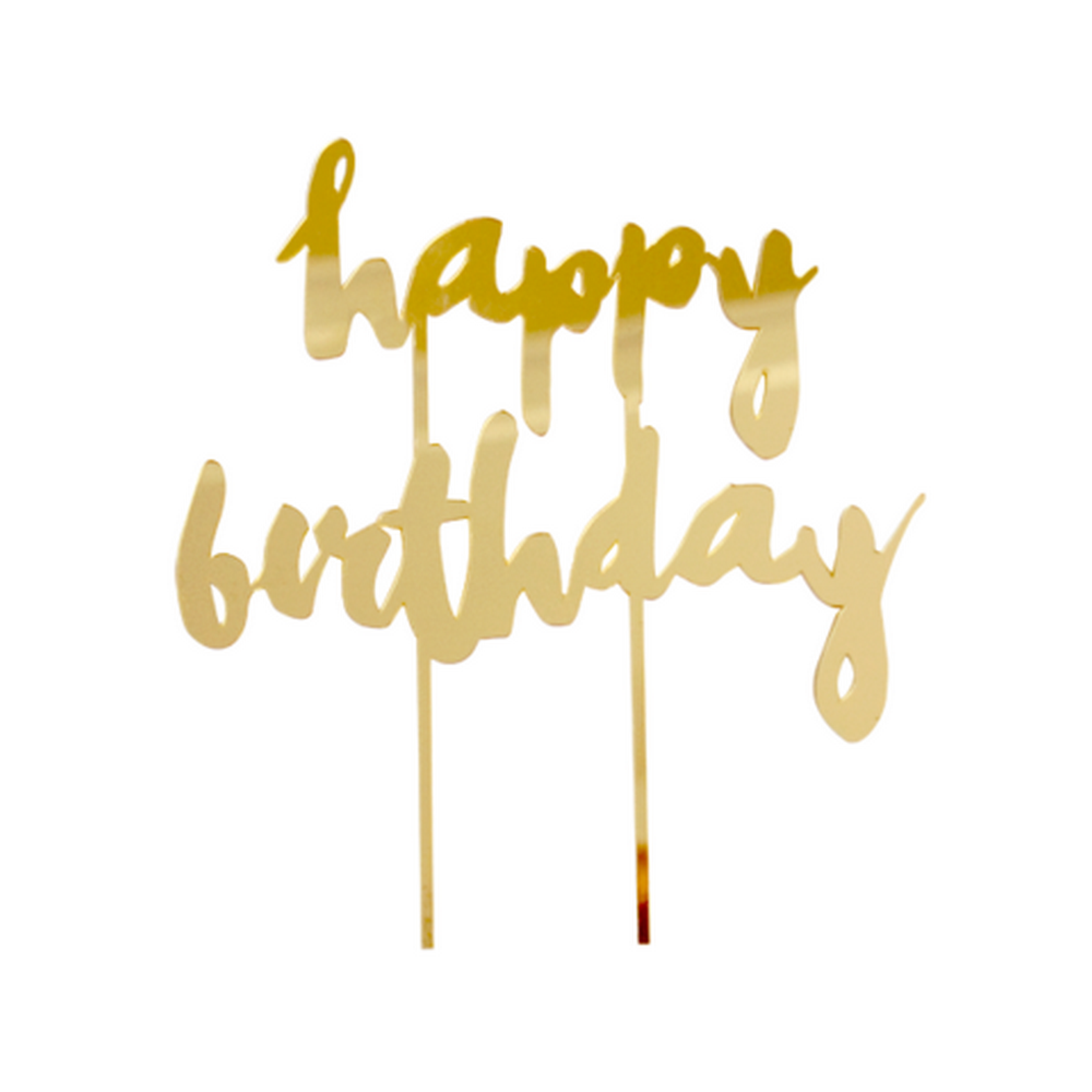 """HAPPY BIRTHDAY"" GOLD MIRRORED CAKE TOPPER"