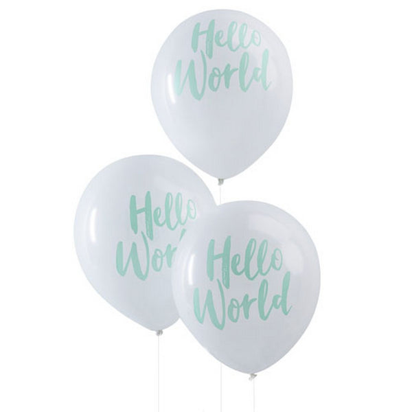 "MINT ""HELLO WORLD"" BALLOONS (10 pack)"