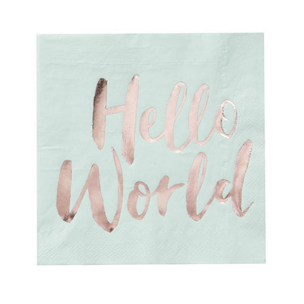 "MINT & ROSE GOLD ""HELLO WORLD"" NAPKINS (20 pack)"