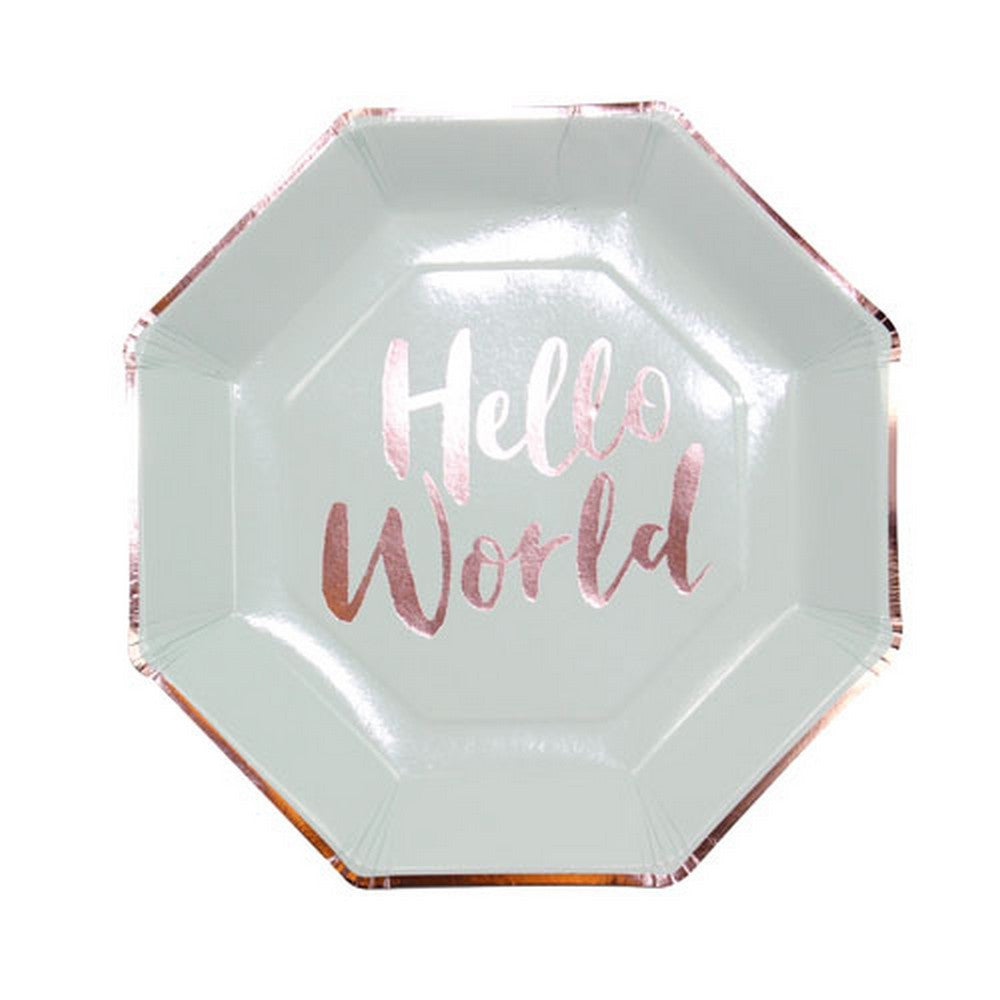 "MINT & ROSE GOLD ""HELLO WORLD"" PLATES (8 pack)"