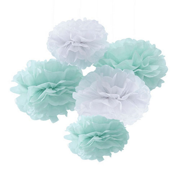 "MINT & WHITE ""HELLO WORLD"" POMPOMS"