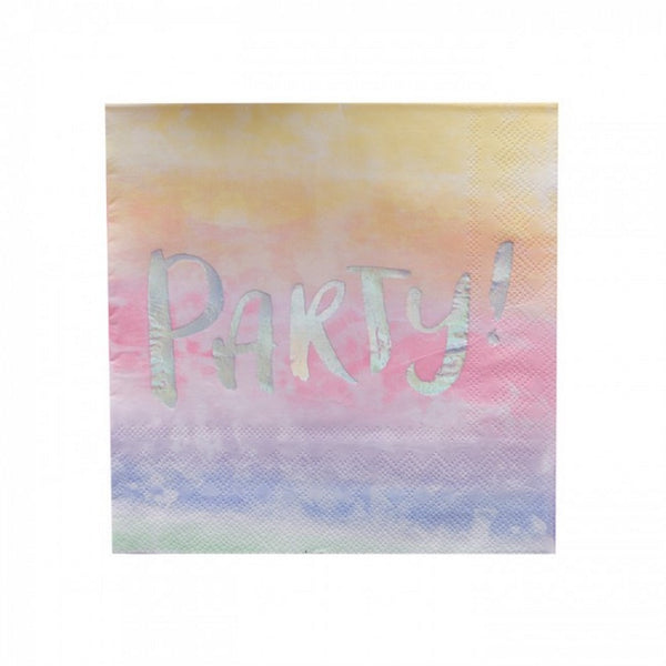 "RAINBOW & IRIDESCENT ""PARTY"" NAPKINS (16 pack)"