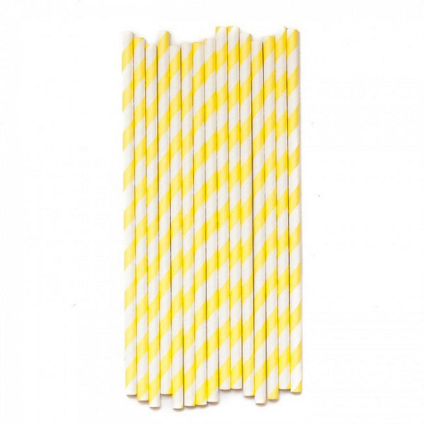 PASTEL YELLOW CANDY STRIPE <BR> STRAWS (25 pack)