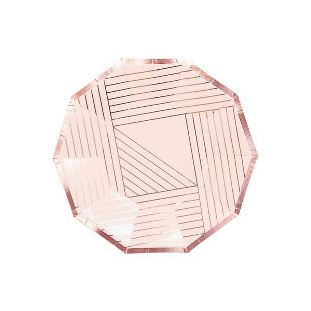 ROSE GOLD PALE PINK STRIPED <BR> SMALL PLATES (8 pack)