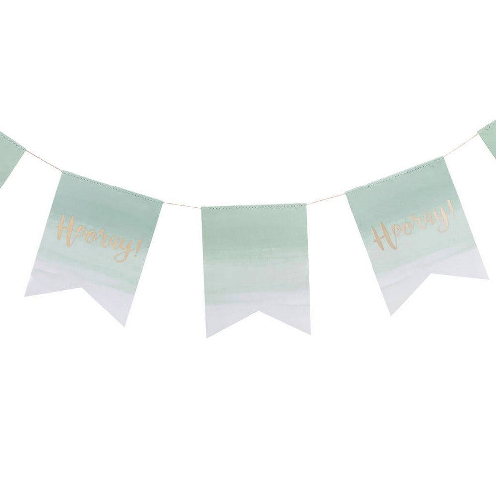"OMBRE MINT & GOLD FOILED ""HOORAY"" BUNTING"