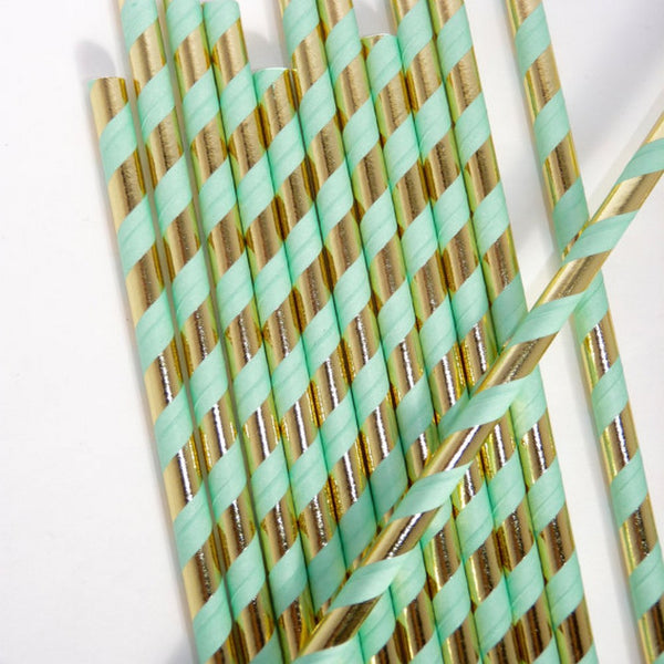 MINT GOLD FOIL <BR> STRAWS (25 pack)