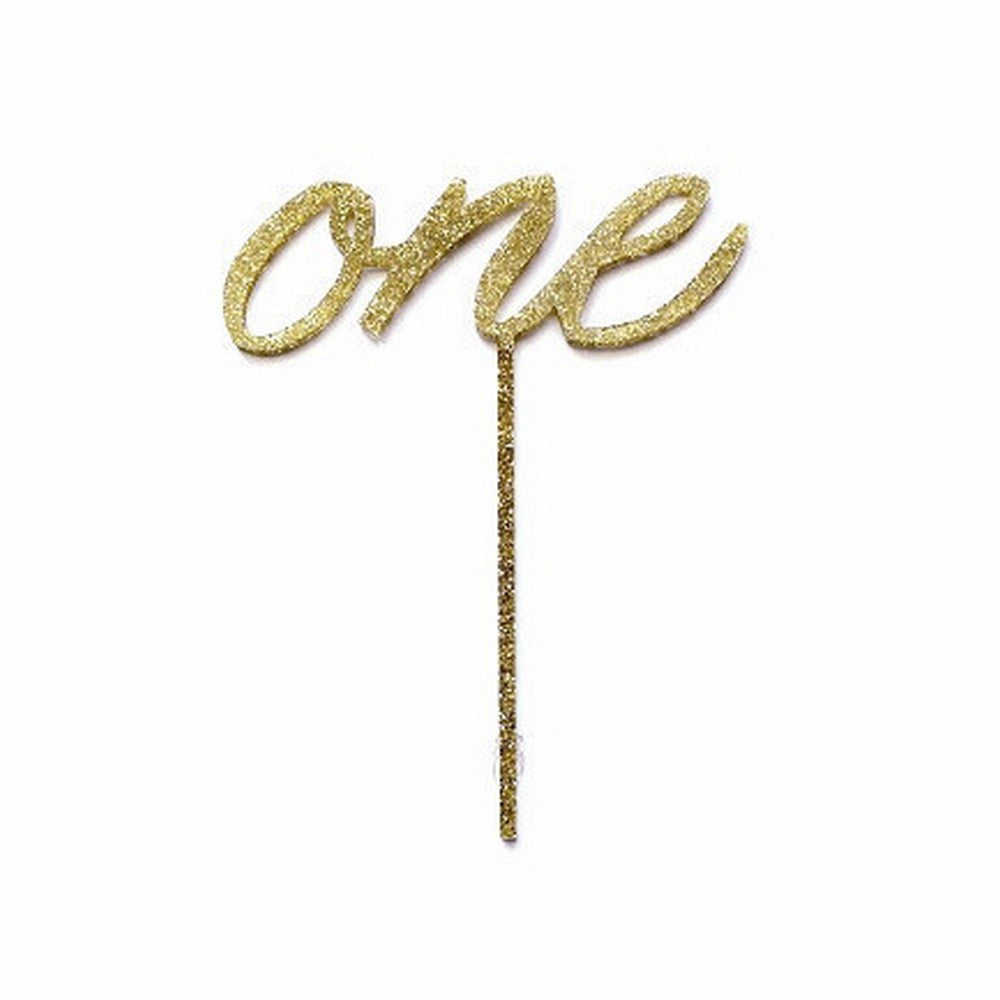 "GOLD GLITTER ""ONE"" <br>CAKE TOPPER"
