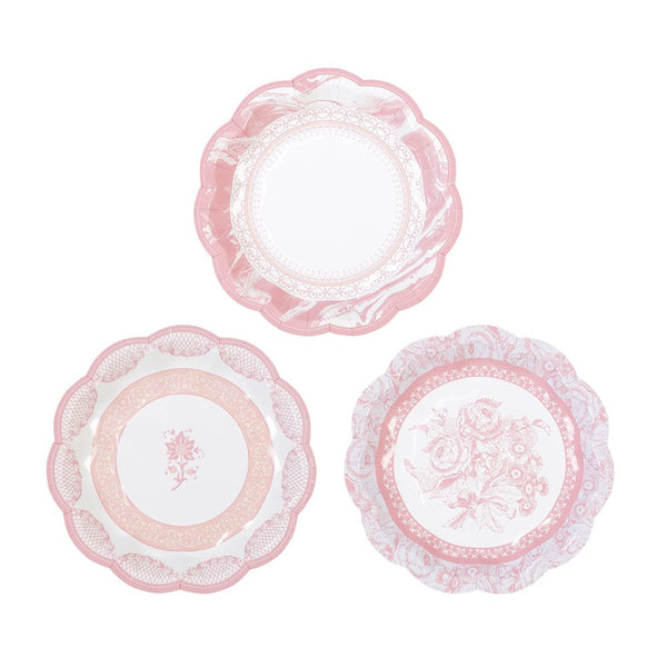 PORCELAIN ROSE SMALL SCALLOPED PLATES (12 pack)