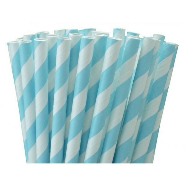 PASTEL BLUE CANDY STRIPE <BR>STRAWS (25 pack)