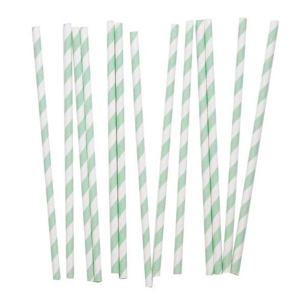 PASTEL MINT CANDY STRIPE <br>STRAWS (25 pack)