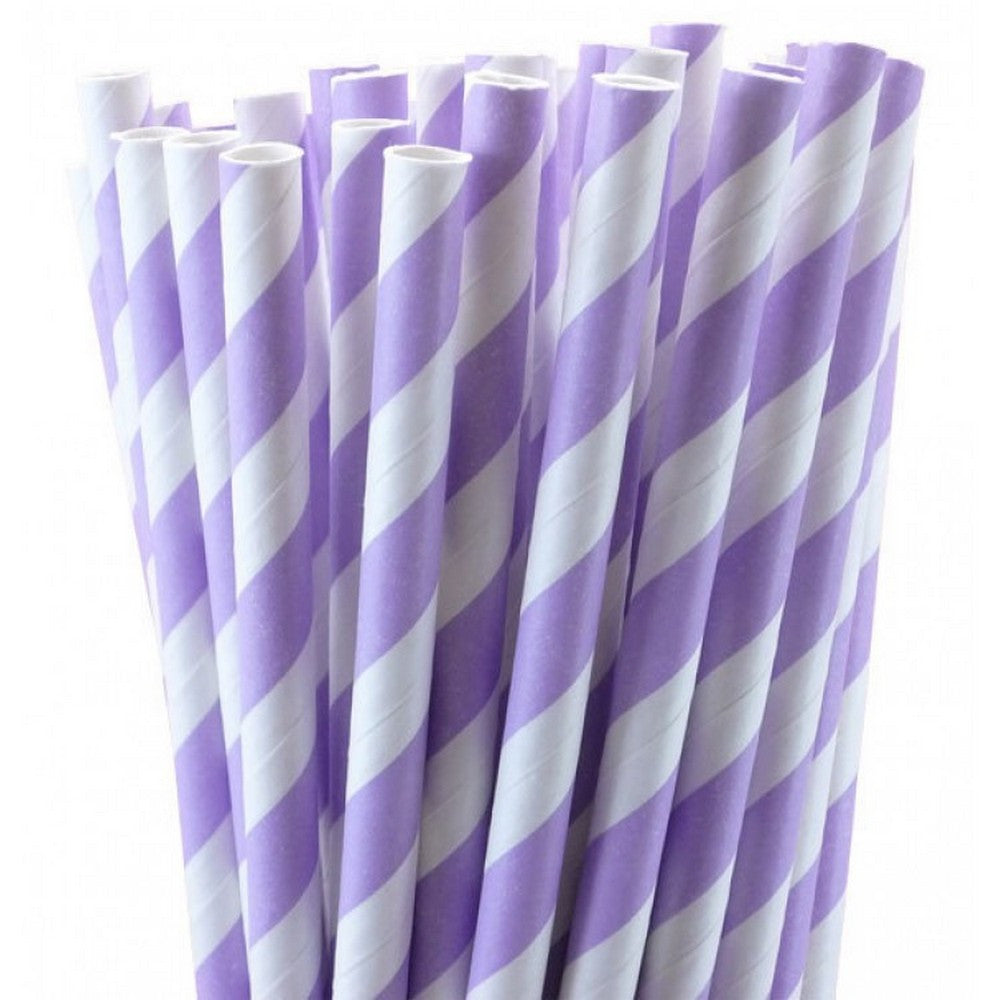 PASTEL LILAC CANDY STRIPE <BR>STRAWS (25 pack)