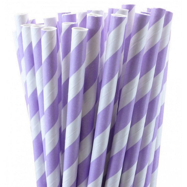 PASTEL LILAC CANDY STRIPE STRAWS (25 pack)