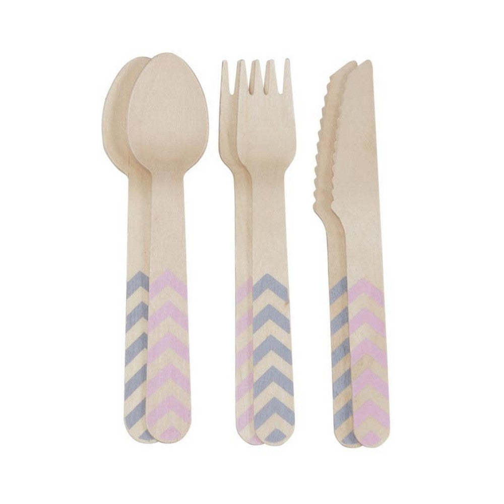 Pink and Grey Wooden Cutlery