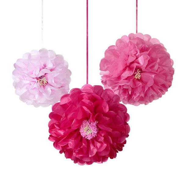 PINK FLOWER<BR>POMPOM MIX (3 pack)