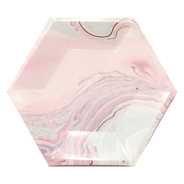 HEXAGON UNICORN MARBLE<BR> SMALL PLATES (8 pack)