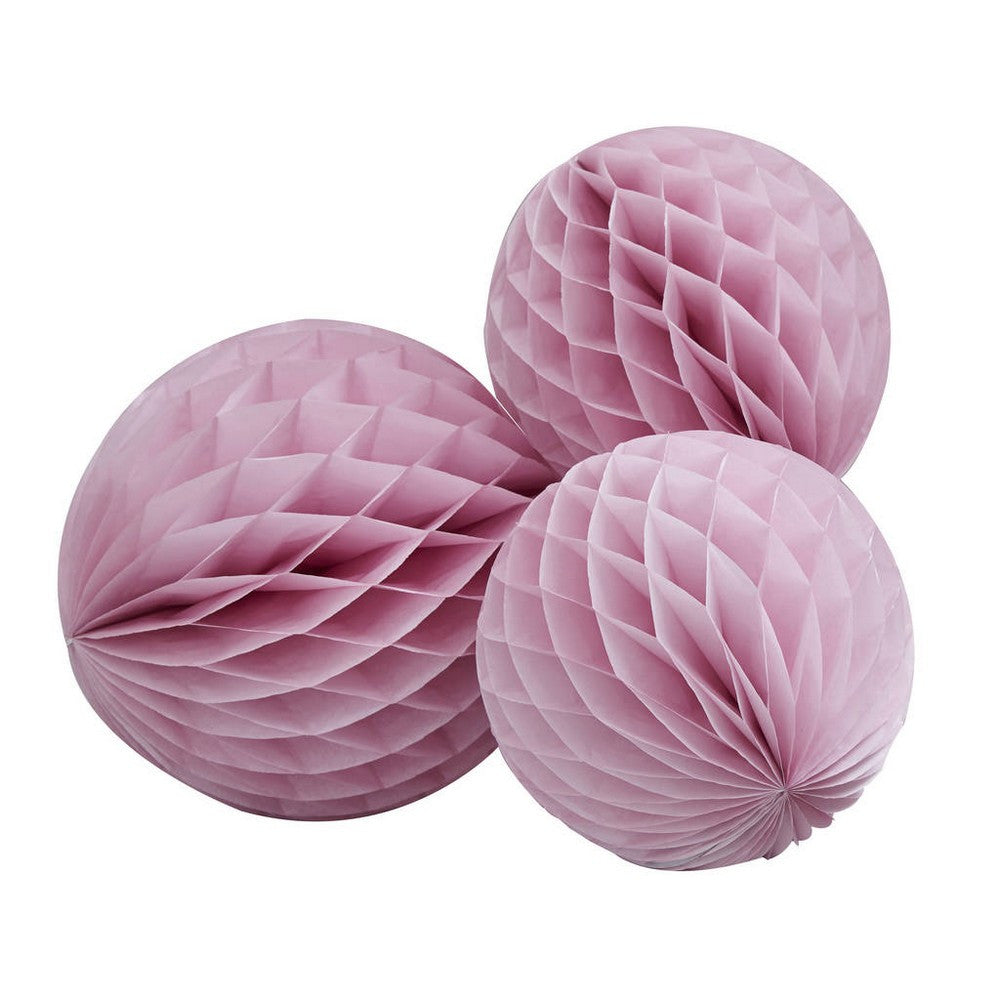 PINK HONEYCOMB BALLS <br>(3 pack)