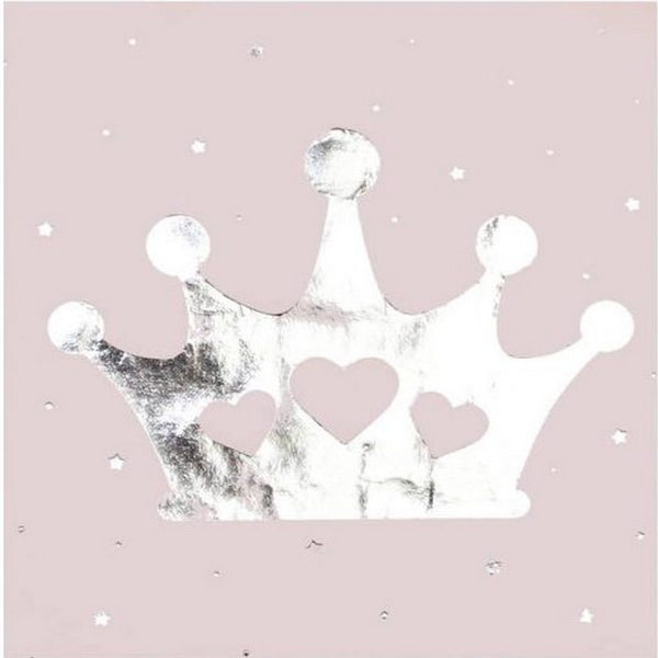 PINK & SILVER FOILED TIARA NAPKINS (16 pack)