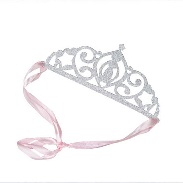 SILVER GLITTER TIARAS <br>(5 pack)