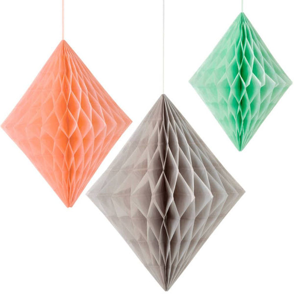DIAMOND HONEYCOMB<BR>PEACH, MINT & GREY (3 pack)
