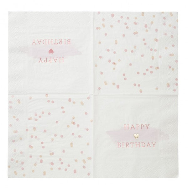 "PINK ""HAPPY BIRTHDAY"" NAPKINS (16 pack)"