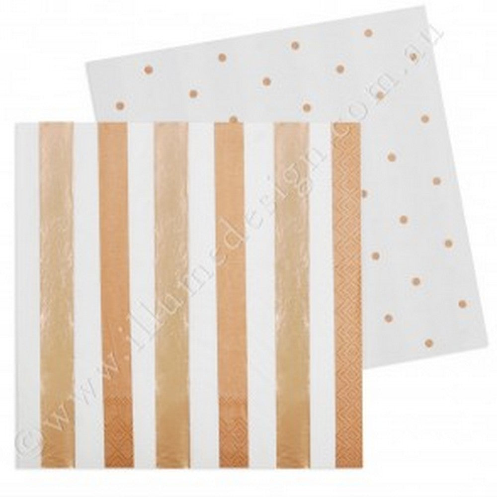 ROSE GOLD STRIPES & DOTS<BR>LARGE NAPKINS (20 pack)