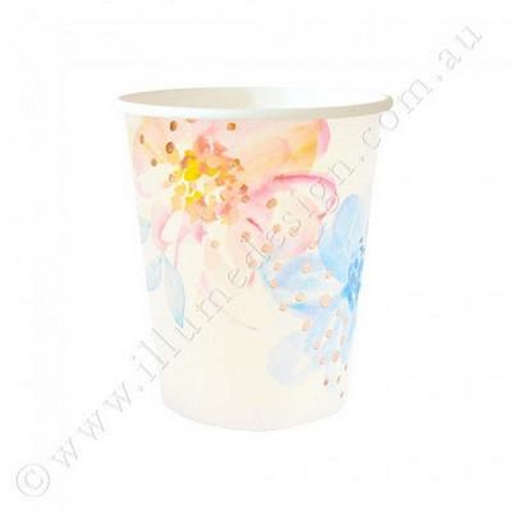 ROSE GOLD FLORAL<BR>CUPS (10 pack)