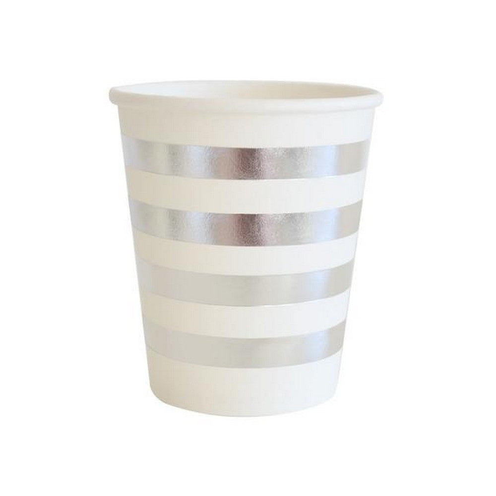 SILVER STRIPE CUPS<BR> (10 pack)