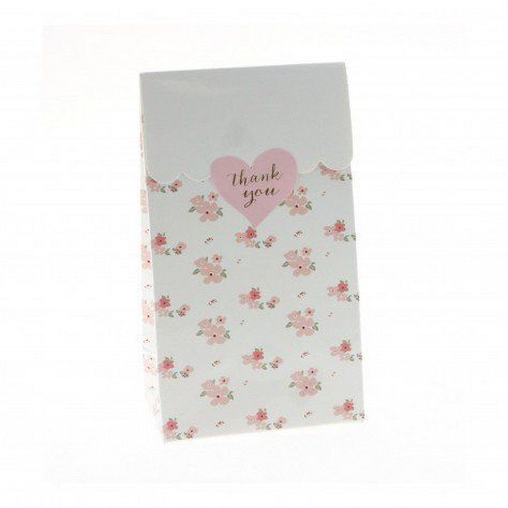 WHITE FLORAL<BR>TREAT BAGS (12 pack)