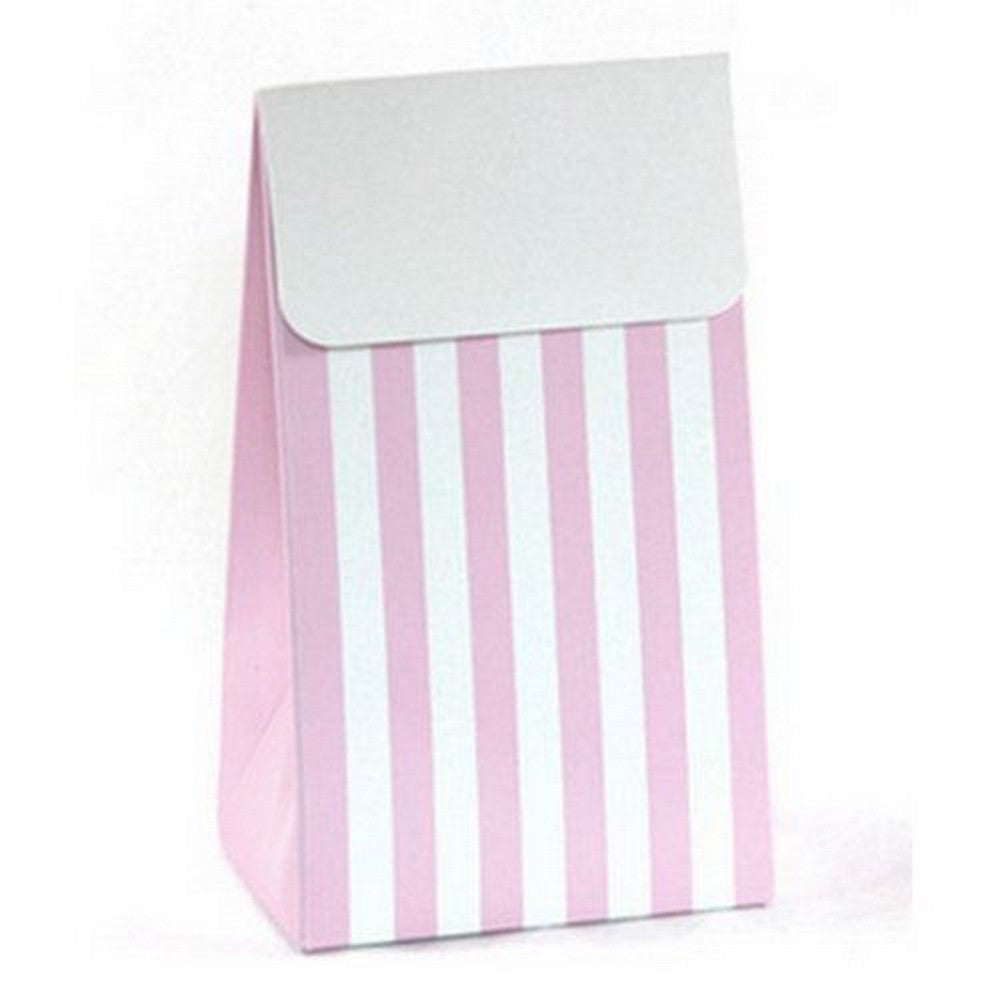 PINK & WHITE STRIPE<BR> TREAT BOX BAG (12 pack)