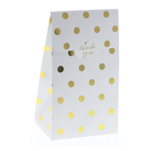 WHITE WITH GOLD FOIL POLKADOT TREAT BOX BAG (12 pack)