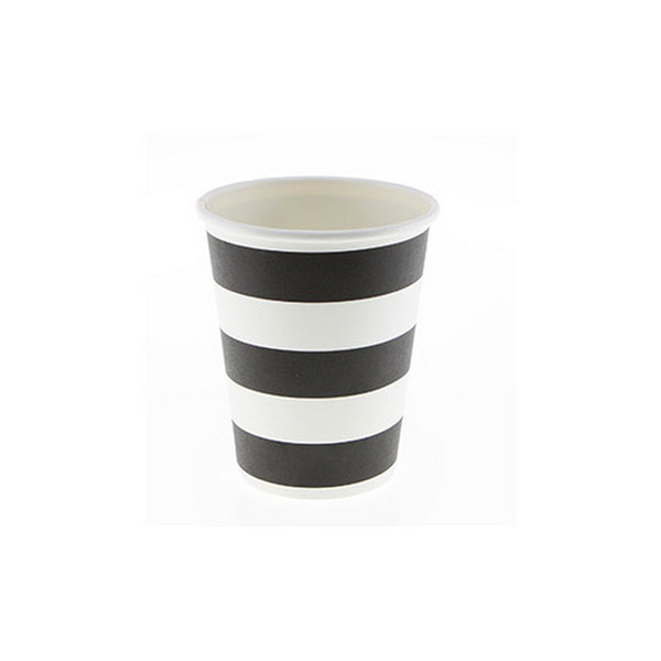 BLACK & WHITE STRIPE PAPER CUPS (12 pack)