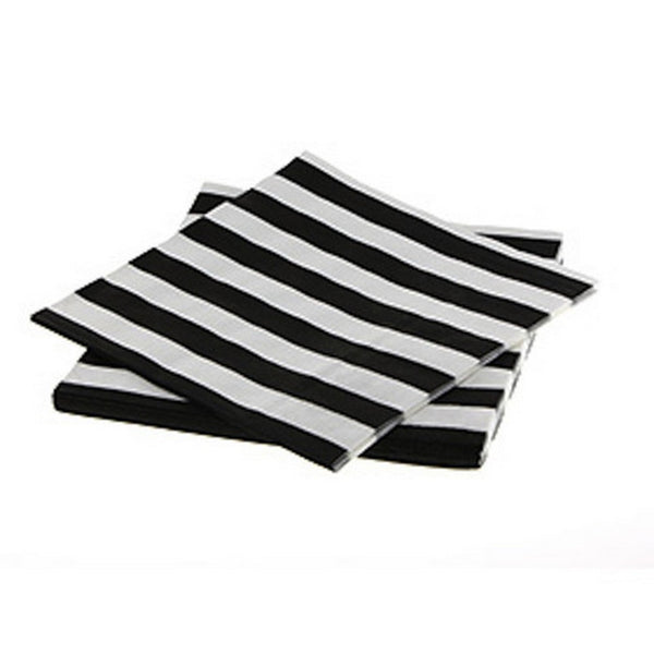 BLACK & WHITE STRIPE NAPKINS (20 pack)