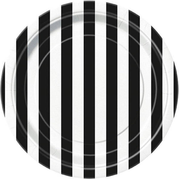 BLACK & WHITE STRIPE ROUND PLATES (12 pack)
