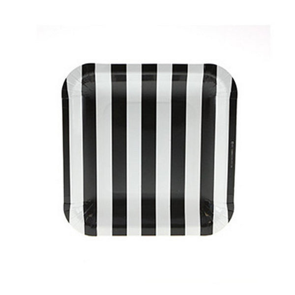 BLACK & WHITE STRIPE SQUARE PLATES (12 pack)