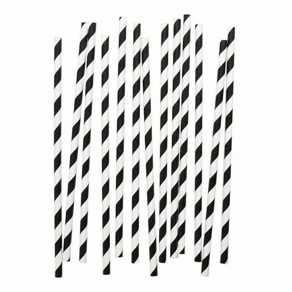 BLACK & WHITE STRIPE STRAWS (24 pack)