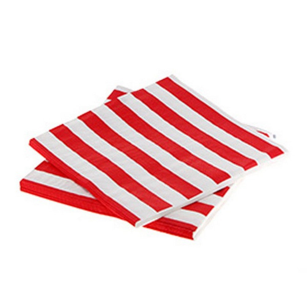 RED & WHITE STRIPE NAPKINS (20 pack)