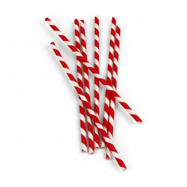 RED & WHITE CANDY STRIPE<BR> STRAWS (25 pack)